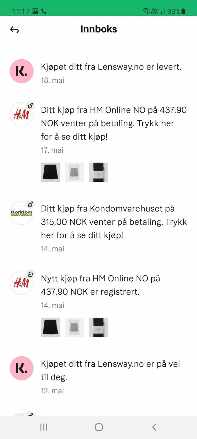 IKKE MINE KJØP: Dette er ikke kjøpene til kvinnen som eier profilen har gjort, men handlehistorikken til vilt fremmede. Foto: skjermdump.