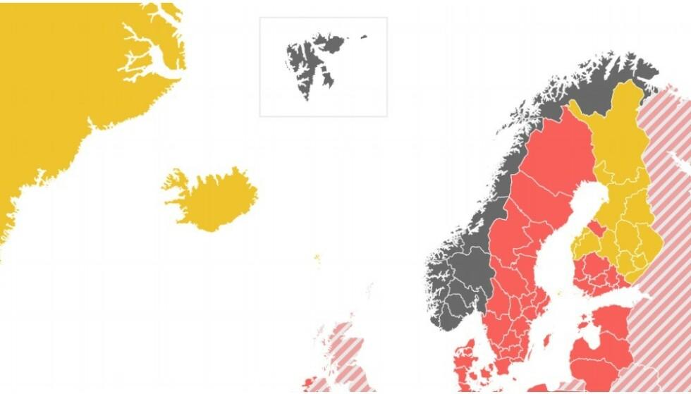 La Finlandia ha molte regioni gialle dopo che le bacheche di viaggio sono state modificate quel giorno.