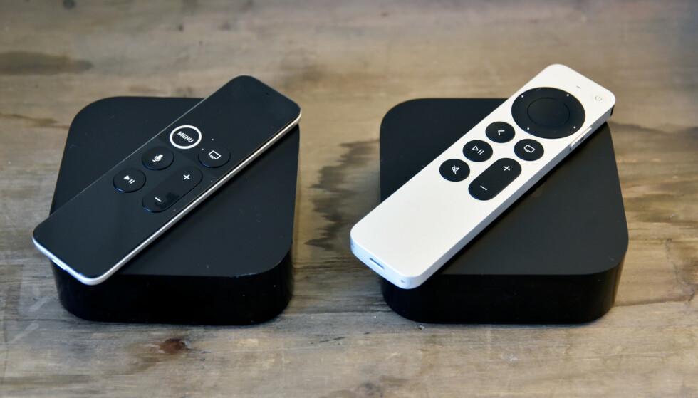 LIK BOKS, ULIK FJERNKONTROLL: 2021-utgaven av Apple TV 4K er identisk med sin forgjenger, men fjernkontrollen har blitt pusset opp betraktelig. Foto: Pål Joakim Pollen