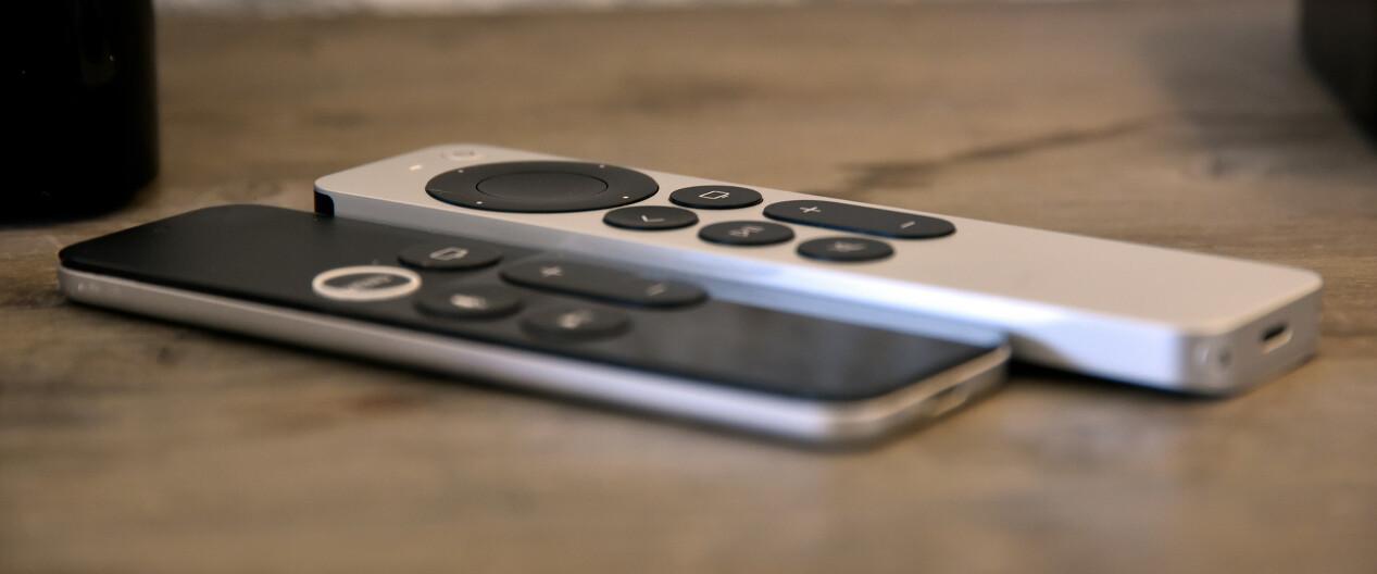 TJUKKERE: Apple TV 4K-fjernkontrollen bygger mer enn den forrige og er også lengre, men smalere i bredden. Foto: Pål Joakim Pollen