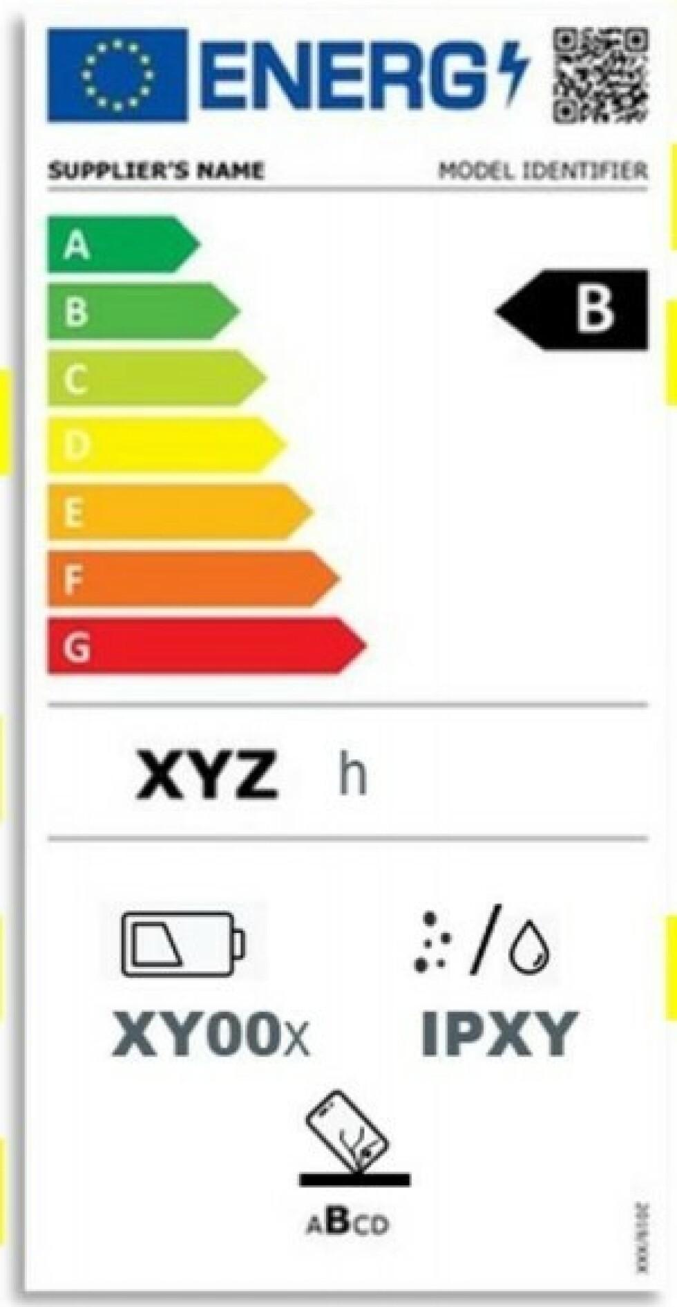 Kjøper du en ny smarttelefon i 2023 kan det hende du ser en slik etikett på esken. Foto: EU-kommisjonen