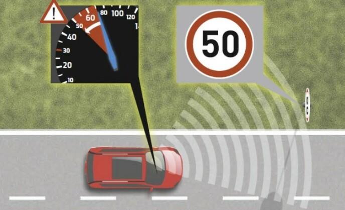 KUTTER MOTORKRAFT: Et kamera leser 50-skiltet og sender informasjon til bilens datamaskiner, som igjen sørger for å kutte motorkraften på bilen. Ill: EU