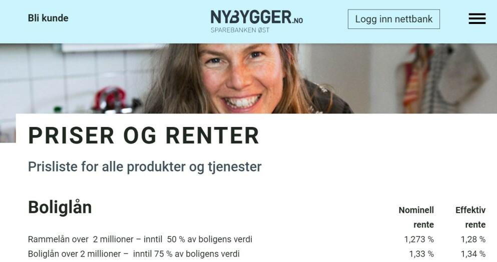 RENTEHOPP: Ja, rentene til Nybygger.no er fortsatt lave, men i høst var de enda lavere. Digitalbanken har nemlig nettopp satt opp rentene på rammelån og boliglån over to millioner med henholdsvis 0,18 og 0,14 prosentpoeng. Foto: skjermdump.