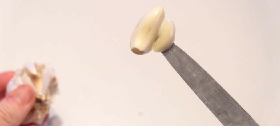 Skrell hvitløk i en fei