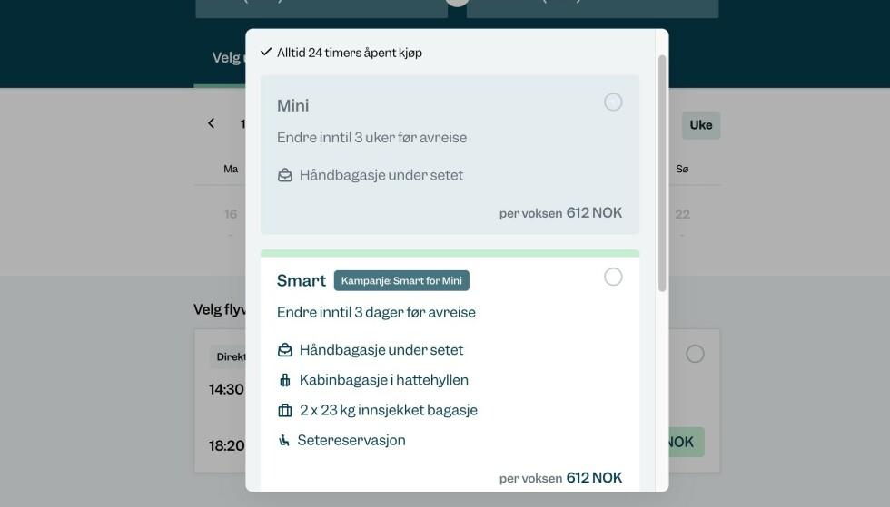 KAMPANJE: Til å begynne med får du smart-billett til mini-pris hos Flyr. Skjermbilde: Pål Joakim Pollen