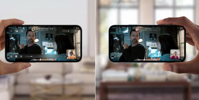 Via SharePlay kan flere i en Facetime-samtale se den samme videoen, synkronisert. Dette støttes også av tredjeparter, blant annet Disney+. Foto: Apple