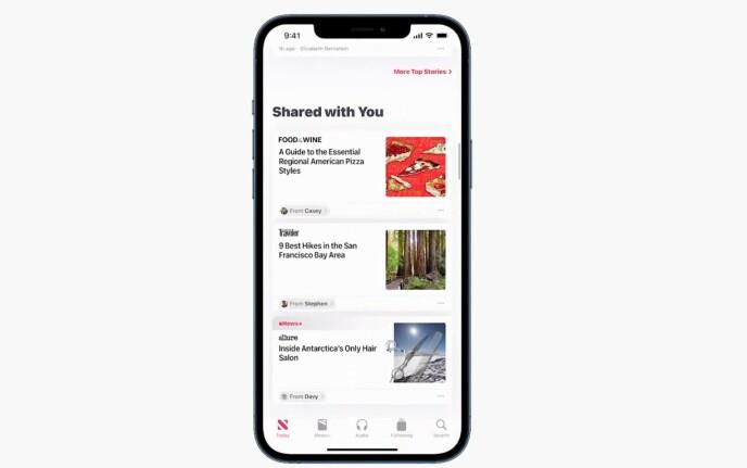 Når noen deler innhold med deg via iMessage, vises dette innholdet i relevante apper. Foto: Apple