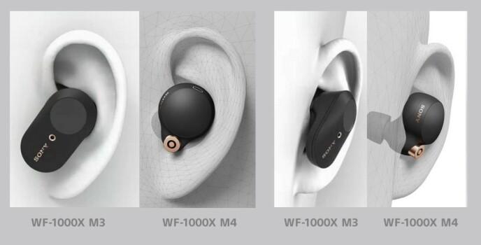 Slik fremstår WF-1000XM4 i øret sammenlignet med forgjengeren, WF-1000XM3. Foto: Sony