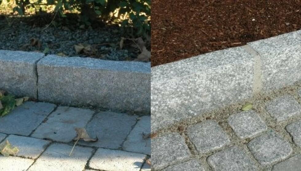 MED OG UTEN FUGE: Bildet til venstre viser granitt kantstein satt knas, kant i kant. Bildet til høyre viser granitt kantstein satt med cirka 2 centimeter fuge som er fylt med jordfuktig betong. Foto Steinhandel.no.