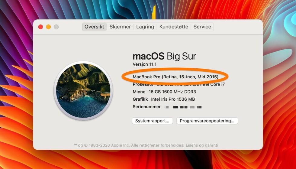MODELLNAVN: Du finner det ved å klikke på eplet. Foto: skjermdump.