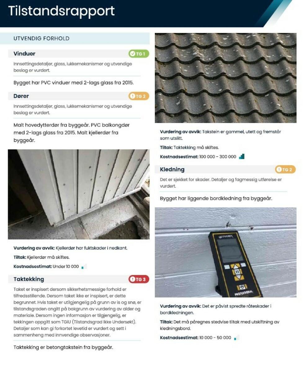 DETALJER: For hver bygningsdel og rom som er vurdert i tilstandsrapporten, kommer det egne tilstandsgrader og hva det eventuelt koster å utbedre der det trengs. Foto: skjermdump