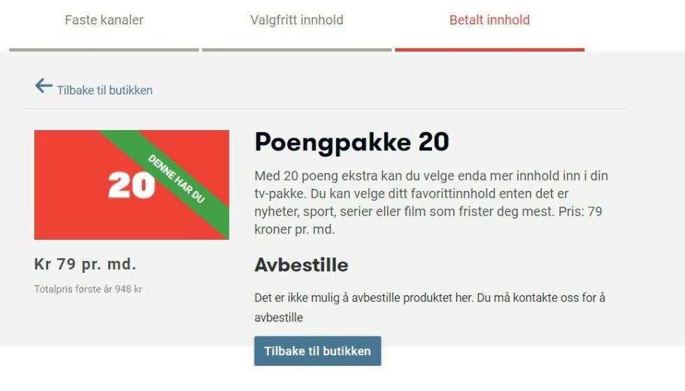 ALTIBOX: Du kan enkelt bestille en poengpakke på Altibox' nettsider, men må kontakte kundeservice for å avbestille. Foto: Skjermdump