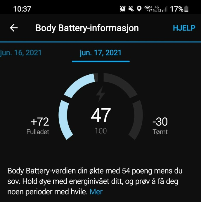 Body Battery er det nærmeste du kommer Garmins Training load på Venu 2. Foto: Martin Kynningsrud Størbu