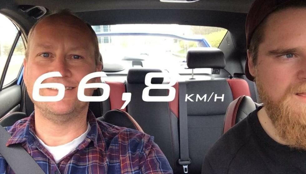 SNAPPER FART: Filteret viste kjørehastighet i selfier. Foto: Magnus G. Arnkværn