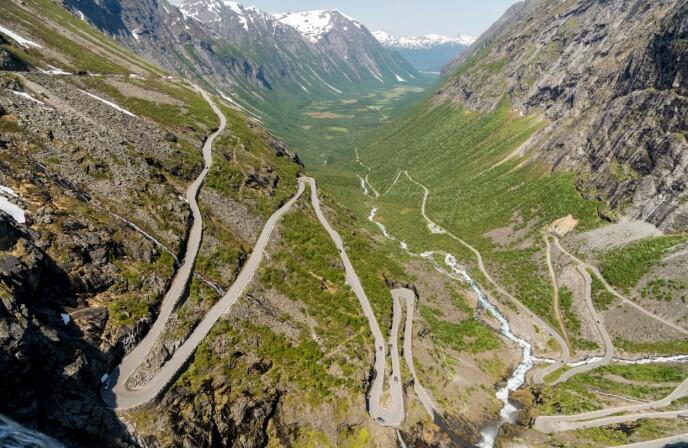 Trollstigen: Trollstigen går mellom Åndalsnes og Valldal, og er Norges mest besøkte turistvei. Foto: Kathrine Salhus