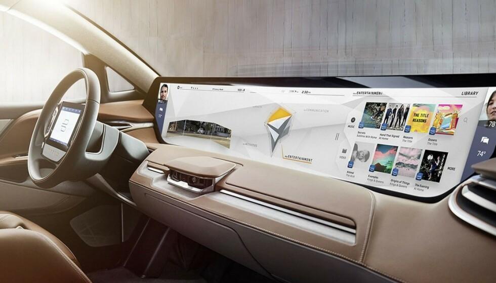 STØRRE OG STØRRE: Så langt er det kinesiske Byton som har tatt kaka når det gjelder størrelsen på skjermer i bilen. Planen er å lansere bilen i Norge neste år. Foto: Byton