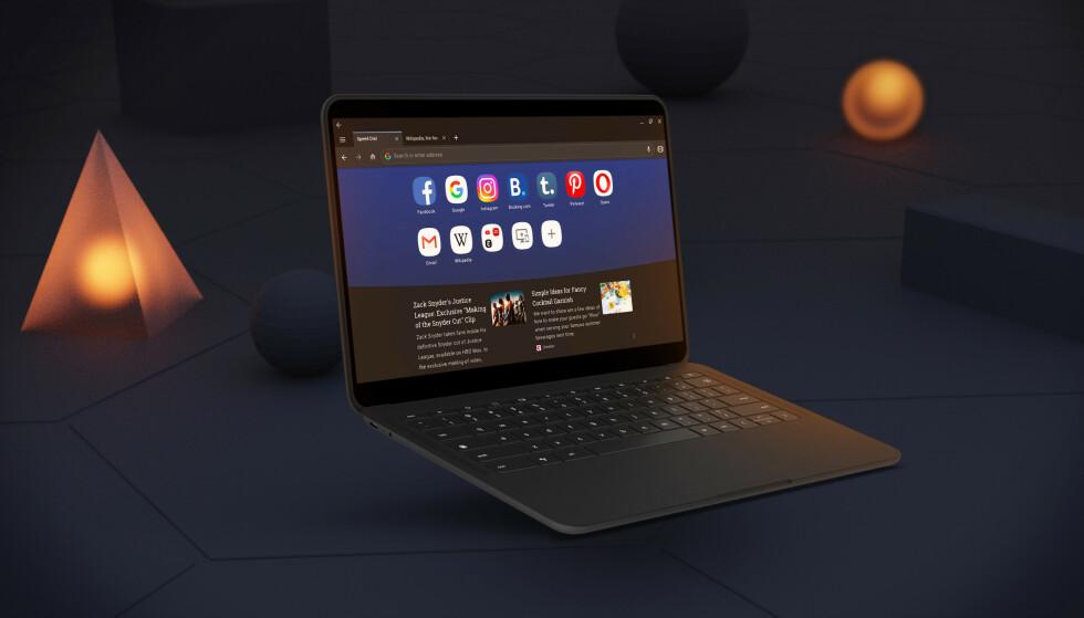 NY: Opera er en ny alternativ nettleser til Chrome OS på Chromebook. Her i mørkt modus. Foto: Opera