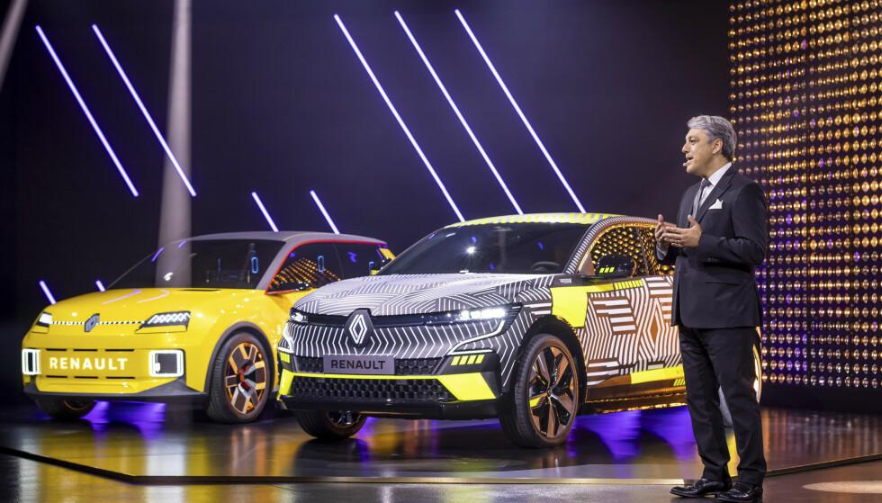 STOR NYHET I HØST: Renault-sjef Luca De Meo vil gjøre Renault til Europas grønneste bilfabrikk innen 2025. Ti nye elbiler står på planen. Megane nærmest kommer i høst og retro-modellen 5 i 2023 Foto: Renault