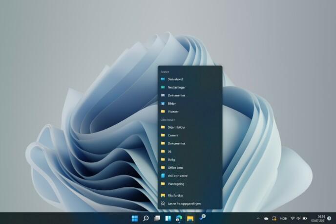 WINDOWS 11: Appene er (som standard) sentrert på oppgavelinjen. Som du kan se, går avrundede hjørner igjen i hele OS-et.