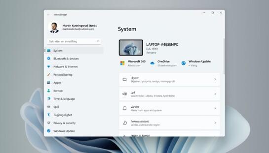 Windows 11 har også en helt ny innstillinger-app.