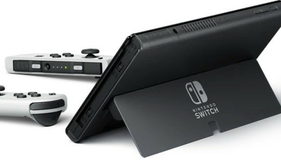 Nintendo Switch OLED har en ny og forbedret støtte. Foto: NIntendo