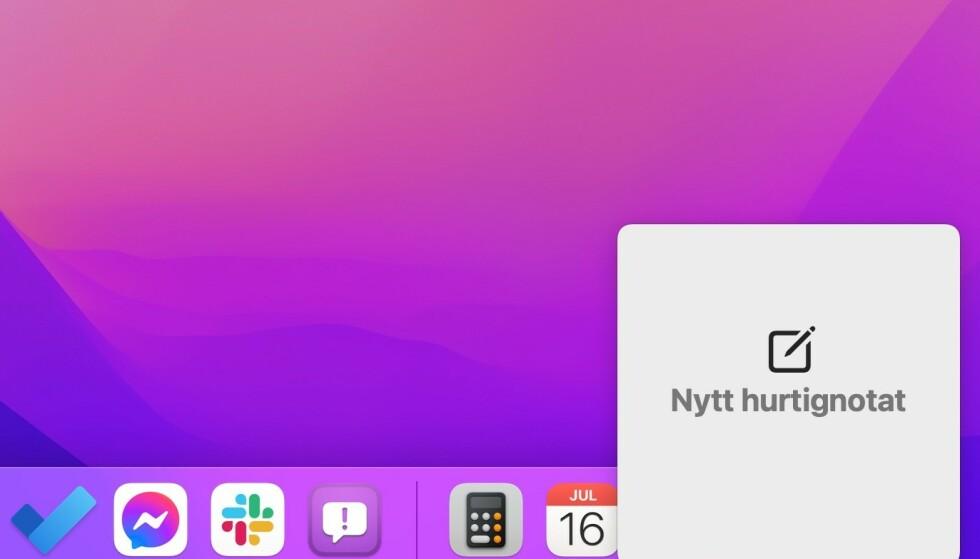 Quick Note er en av de beste nyhetene i macOS Monterey. Foto: Skjermdump