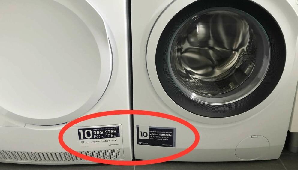 GARANTITID: Tørketrommelen og vaskemaskinen på bildet har lenger garanti dersom du bruker et par minutter på å registrere dem på produsentens nettside. Les saken for å vite hvilke merker som tilbyr slike registreringsgarantier. Foto: Markus W. Carter.