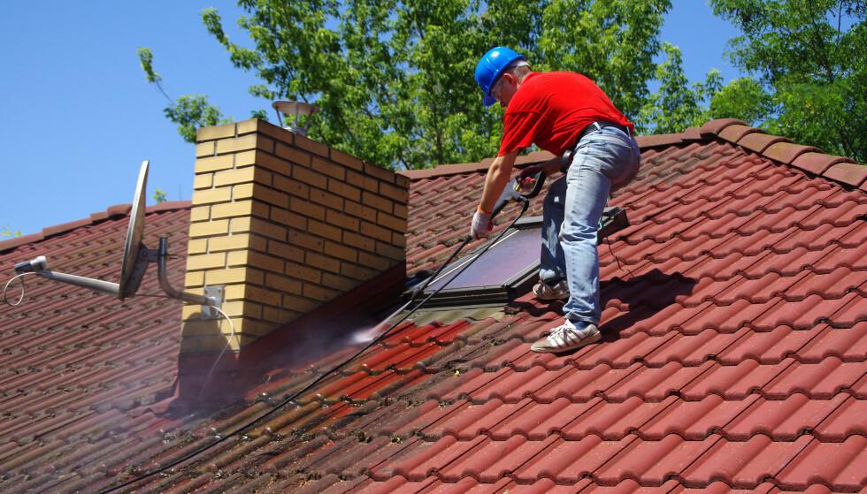 MOSE: Er det mye mose på taket kan du bruke en høytrykkspyler til å fjerne det. Foto: Skorzewiak / Shutterstock / NTB