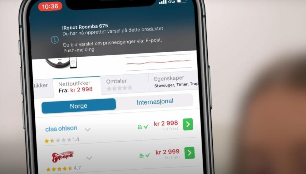 SUPERSMART: Med noen få tastetrykk kan du sikre deg e-post eller SMS når det du planlegger å kjøpe synker i pris. I saken under forklarer vi hvordan du oppretter prisvarsel, samt hvilke produkter som har prisstup i disse dager. Foto: skjermdump