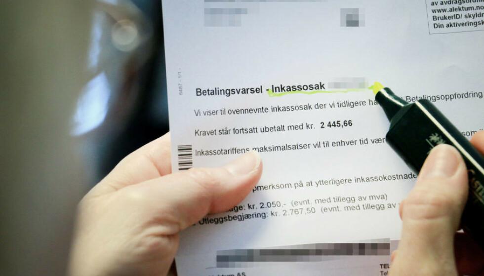 UBETALTE REGNINGER: Tall fra Finanstilsynet viser at inkassogjelda er to milliarder lavere enn i fjor, men samtidig frykter bransjen at det er stille før inkassostormen. Foto: Ole Petter Baugerød Stokke.