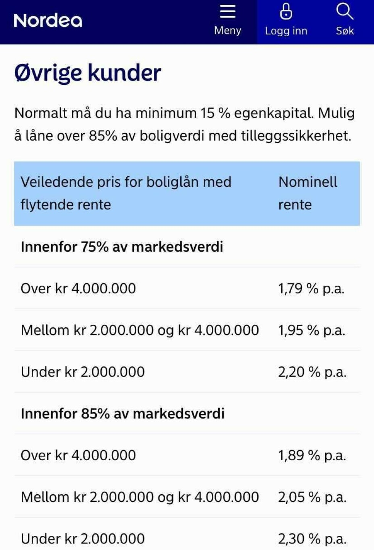 NORDEA: Det samme gjelder for boliglånskundene hos Nordea - lave lån gir høyere rente. Foto: skjermdump.