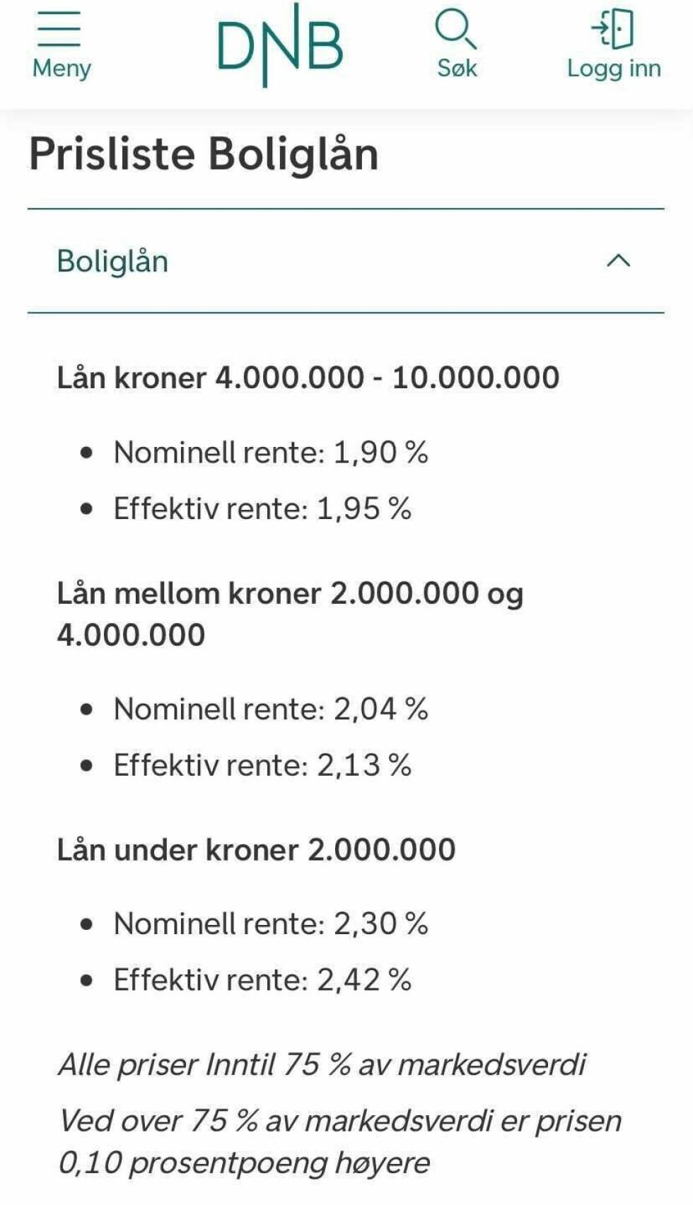 DNB: Som du ser, er DNB én av bankene som har høyere renter for de med lave lån enn de med høye. Foto: skjermdump.