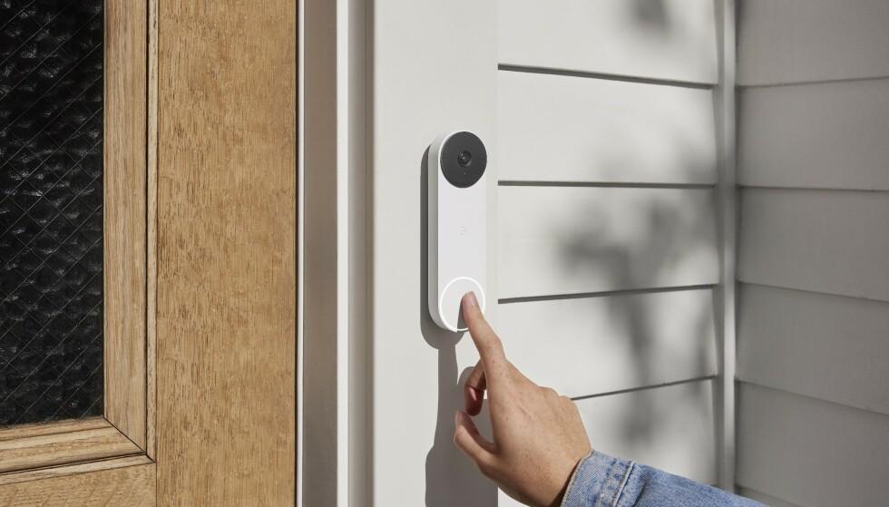 Slik ser Nest Doorbell ut - videoringeklokka kan brukes trådløst. Foto: Google