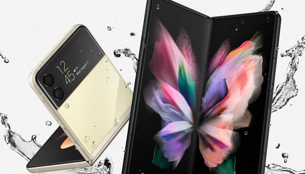 VANNTETTE: Samsungs to nye brettbare telefoner er begge vanntette og kommer i butikkene innen måneden er omme. Foto: Samsung