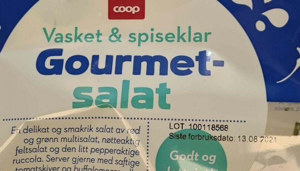 TREKKES TILBAKE: Coop trekker tilbake Coop Gourmetsalat 110g med best før dato 13.08.2021. Foto: Produsenten