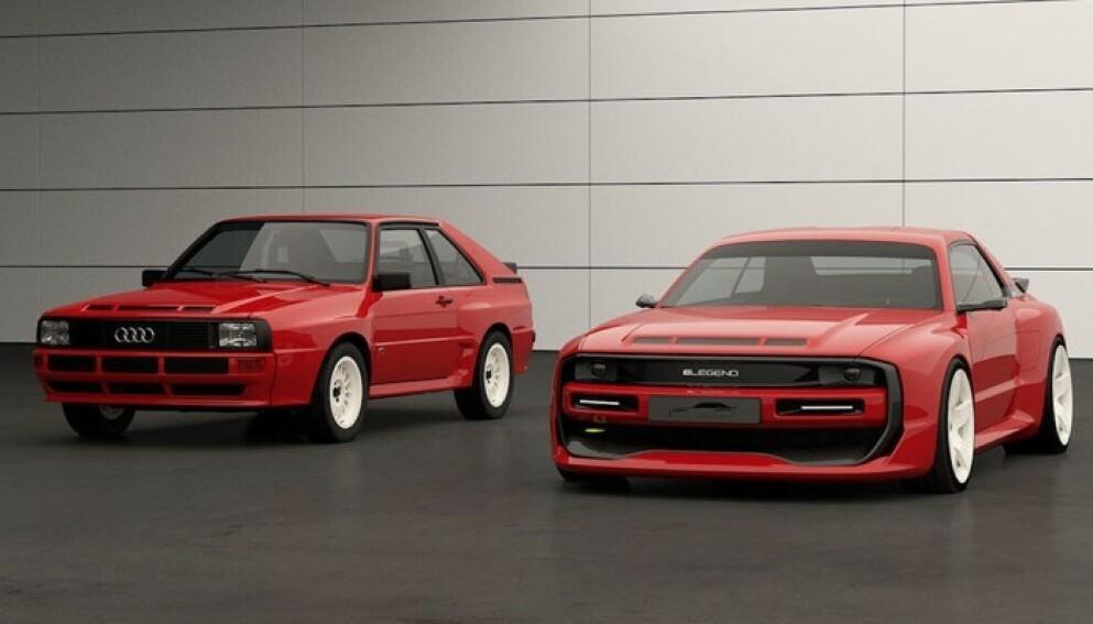 IKKE FOR ALLE: Denne elektriske bilen kommer ikke til å bære Audi-navnet, men det er tydelig at Audi Qattro Sport til venstre er forbildet. Prislapp rundt ni millioner kroner – før avgifter. Foto: Elegend