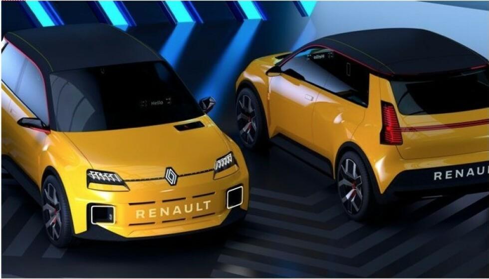 SETT DEN FØR: Renaults lille elbil, som kommer i salg i 2023, har klare likhetstrekk med Renault 5 som var en storselger på 1970-tallet. Foto: Renault