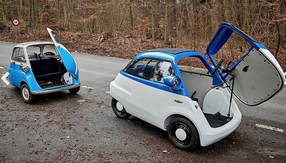 50-TALLS KUL: Microlino er en moderne, elektrisk utgave av legendariske Isetta til venstre. Bilen er bare 2,4 meter lang, med plass til to og koster rundt 12 500 euro. Foto: Micro