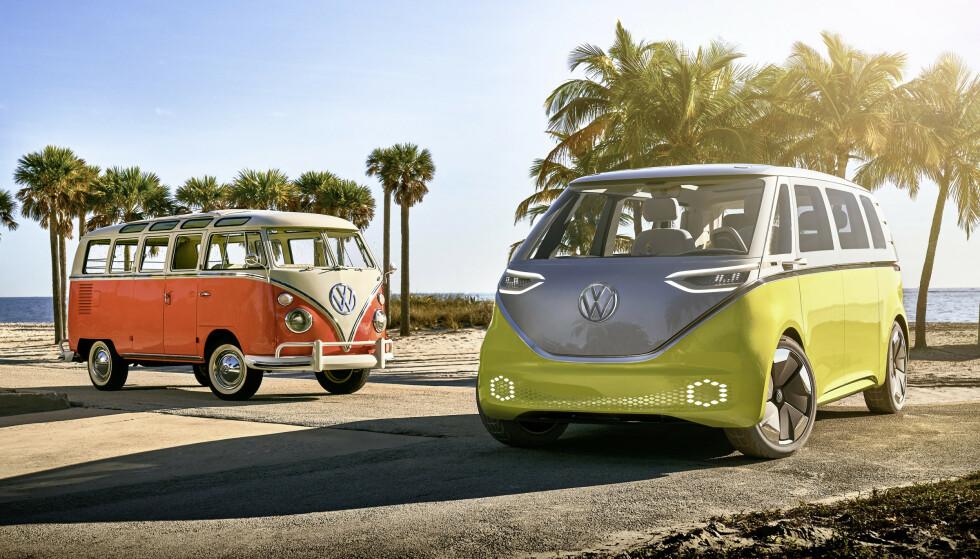 HIPPIE-BUSS: Det har allerede vært kjent en stund at VW kommer med en elektrisk utgave som er sterkt inspirert av den klassiske «hippie-bussen» en gang neste år. Foto: VW