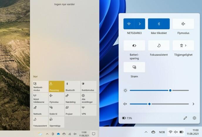 Centro operativo: a sinistra, vedi il Centro operativo in Windows 10, a destra come sarebbe in Windows 11. PS.  Il ridimensionamento e la risoluzione dello schermo fanno sembrare Windows 11 più grande.