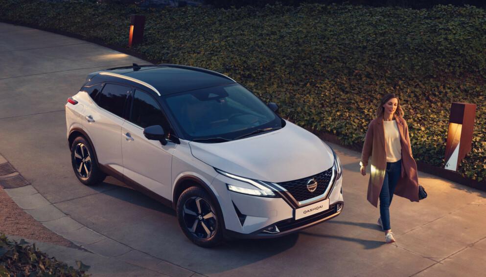 BARE HYBRIDER: Nye Nissan Qashqai får bare hybriddrivverk med en kombinasjon av bensin- og elmotor. På e-Power-utgaven er det en elmotor som driver forhjulene, mens bensinmotoren bare sørger for å lade batteriet med strøm. Foto: Nissan
