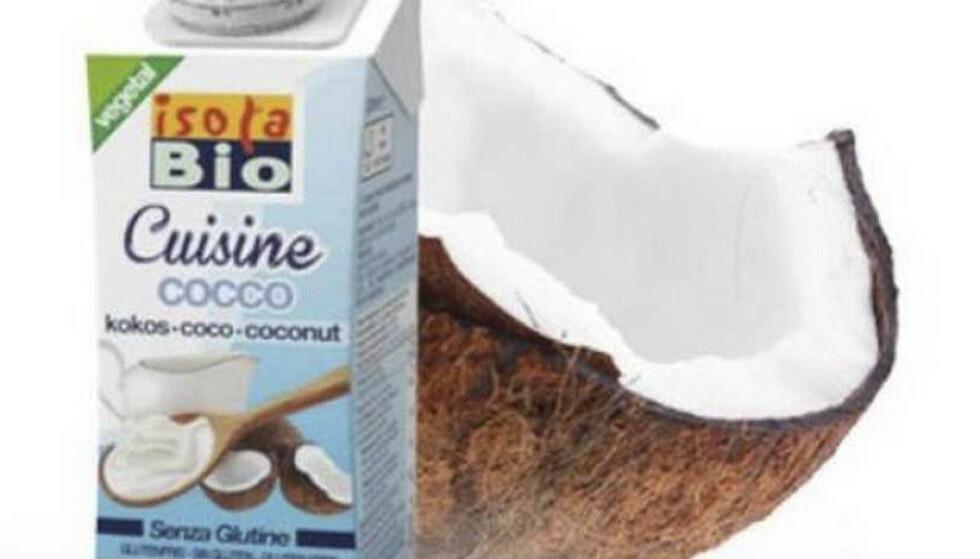 KOKOSMELK: Norganic AS trekker tilbake økologisk, vegansk produkt «IsolaBio Cuisine Cocco» fra Italia. Årsaken er at det er funnet etylenoksid i tilsetningsstoffet guarkjernemel. Foto: Norganic AS / NTB