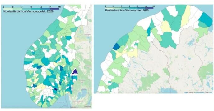 2020: I «coronaåret» 2020 ble kontantandelen nesten halvert fra året før. Av kommunene der Vinmonopolet har utsalgssteder er det Nome og Åsnes som har høyest andel kontantkjøp.
