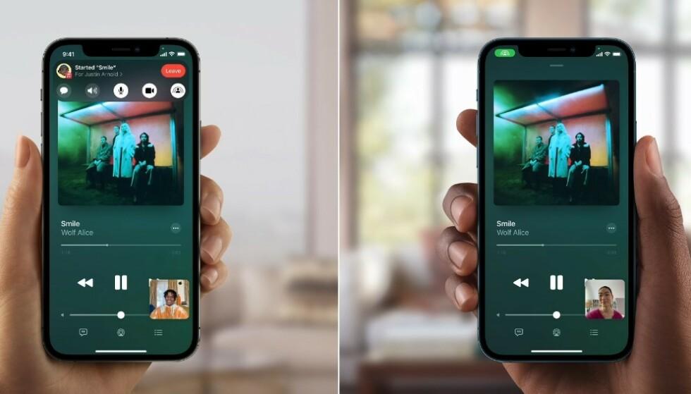 SHAREPLAY: FaceTime-nyheten SharePlay er ikke tilgjengelig i iOS 15 fra dag én. Foto: Apple