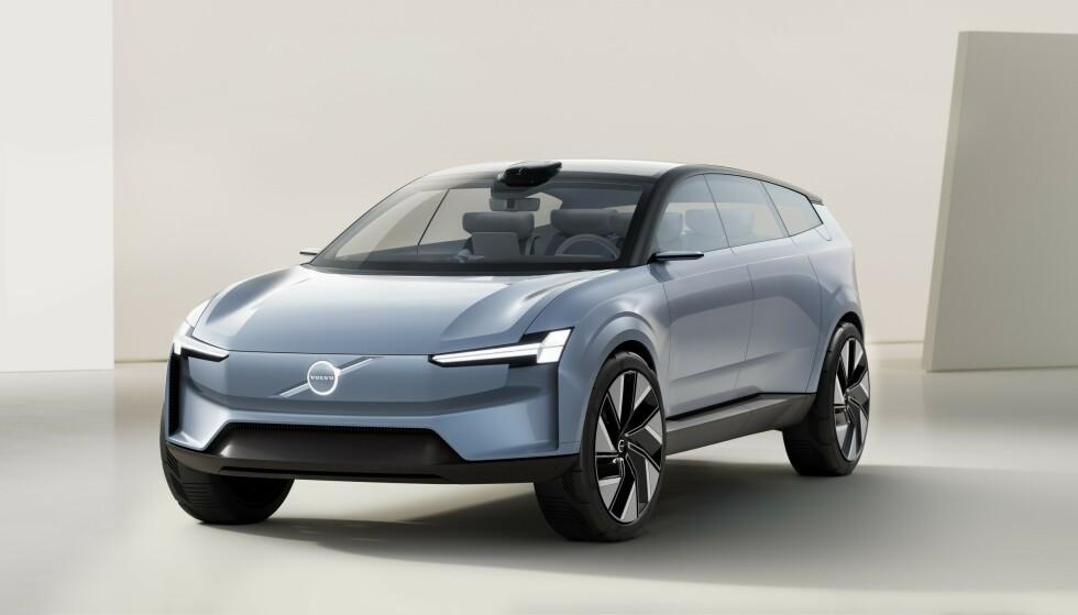 NESTE ELEKTRISKE VOLVO: Nye XC90, som lanseres i løpet av neste år, blir neste, elektriske Volvo på markedet. Fabrikken har allerede vist bilder av denne konsept-modellen. Foto: Volvo