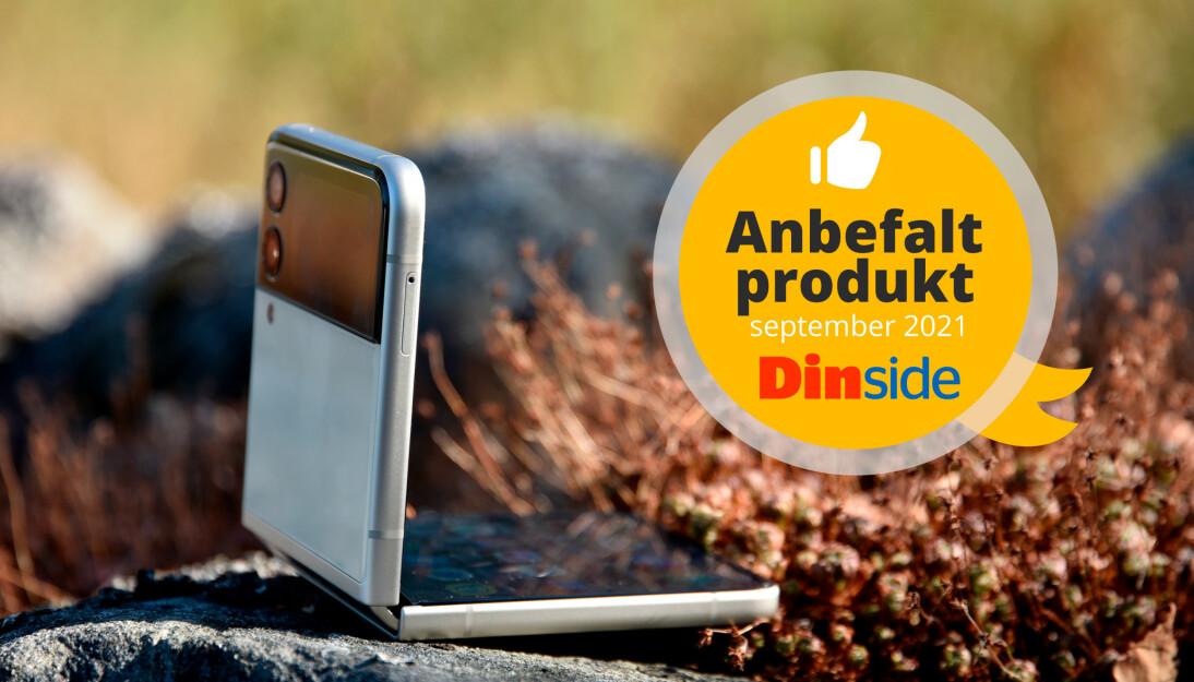 Samsung Galaxy Z Flip 3 får Dinsides Anbefalt produkt-medalje. Foto: Pål Joakim Pollen