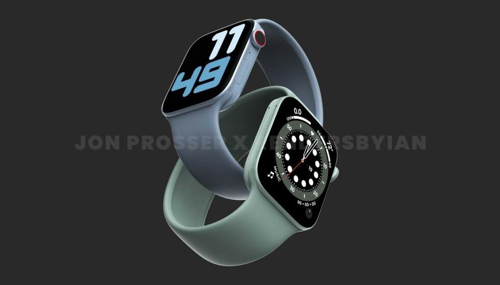 NY DESIGN: Ifølge ryktebørsen får Apple Watch 7 et merk kantede uttrykk som er i stil med iPhone 12. Foto: Jon Prosser
