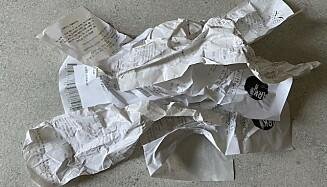 UØNSKET: Kvitteringspapir er ikke velkomment i papirgjenvinningen. Illustrasjonsfoto: Kamilla Thoresen