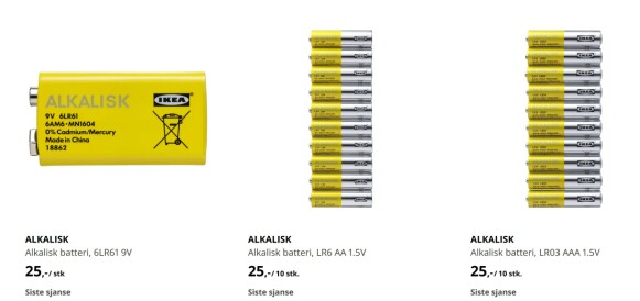 Ikeas alkaliske batterier er på vei ut.