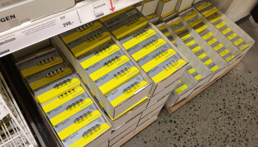 IKEA-BATTERIER: Disse Ikea-batteriene er snart ikke å finne i Ikeas varehus. Foto: Tore Neset